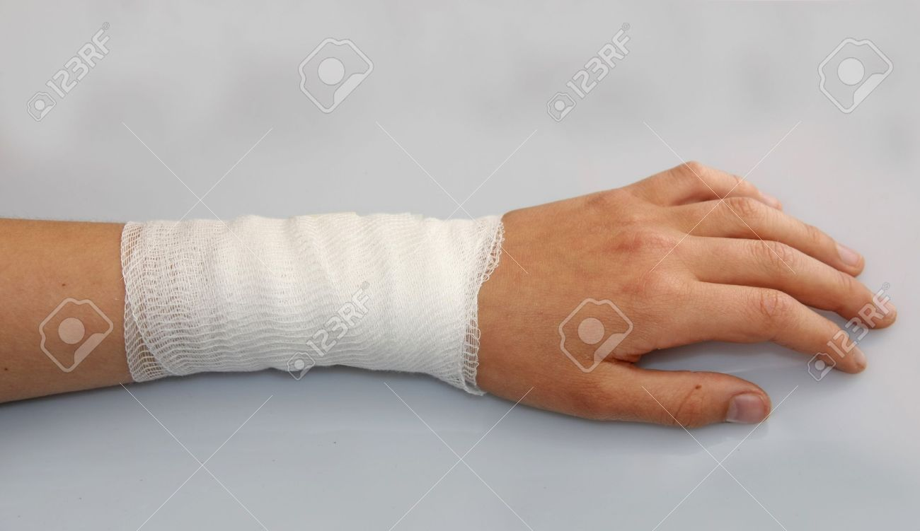 bandaged arm of a child because of a skin lesion Stock Photo - 19471030