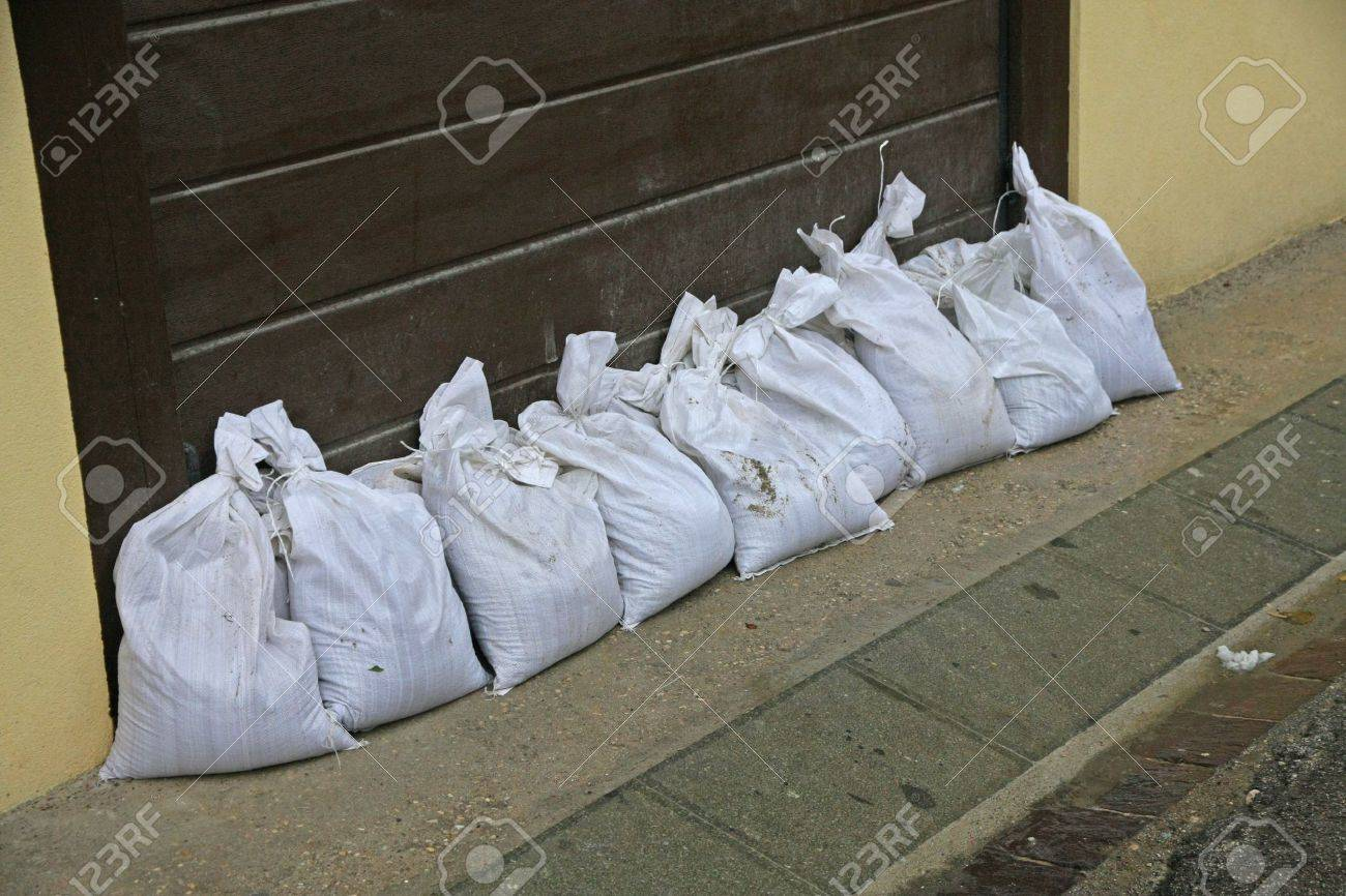 sandbags to protect against flooding of the River during the flood Stock Photo - 19753841