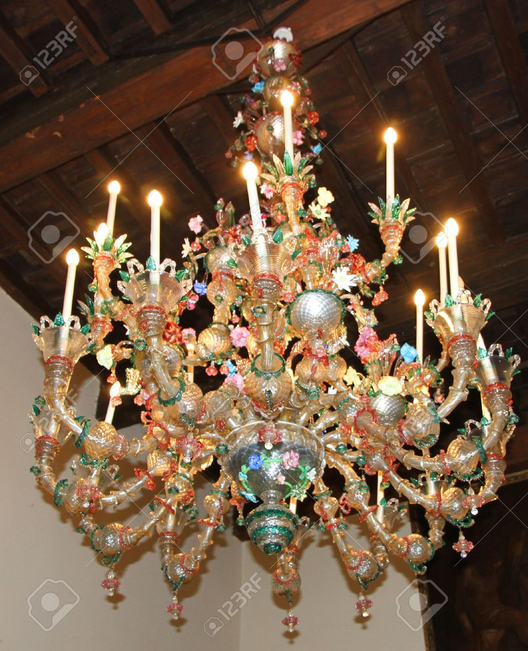 Original glass chandelier murano glass in an ancient venetian original glass chandelier murano glass in an ancient venetian villa stock photo 22970767 mozeypictures Choice Image