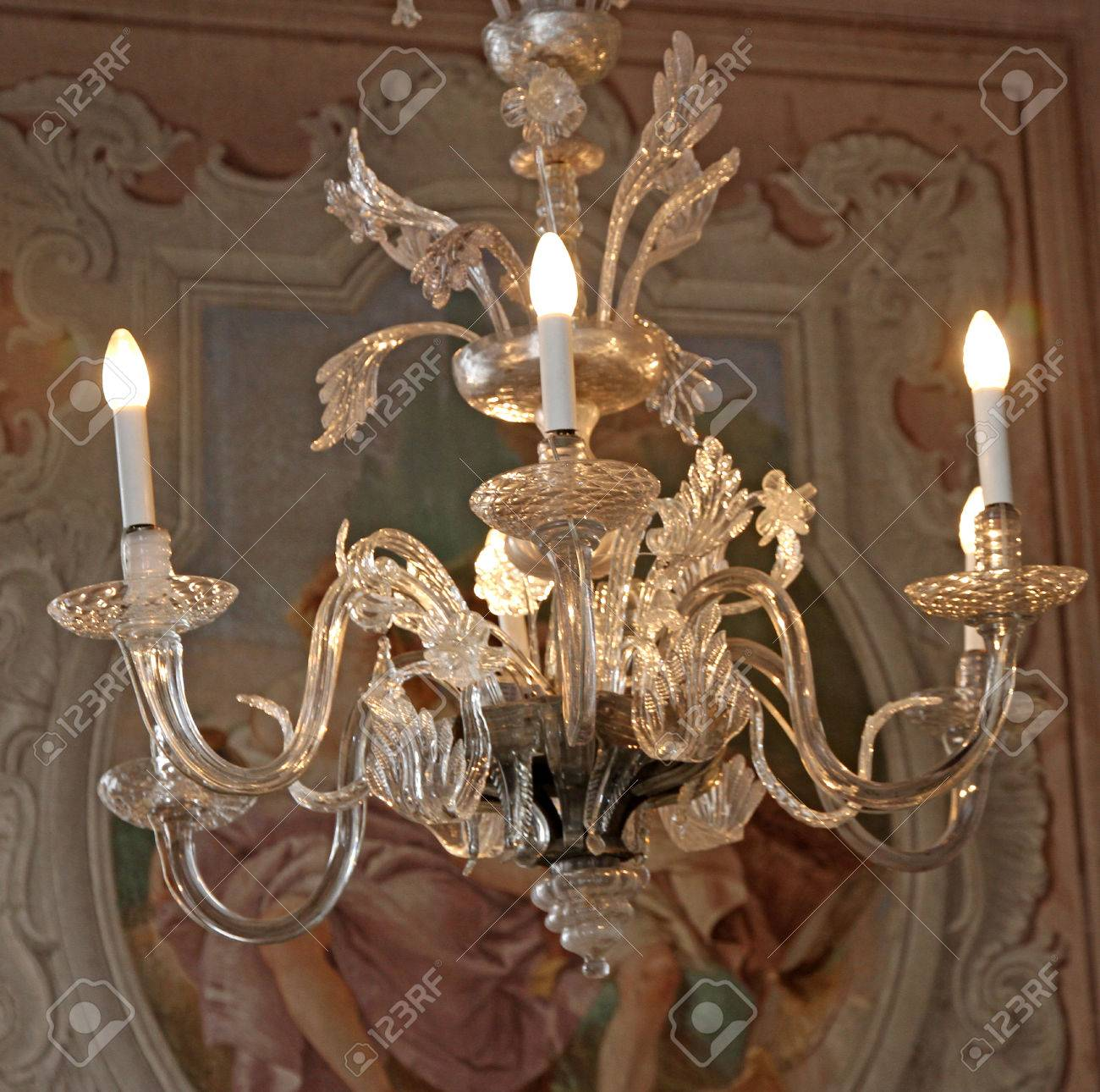 Expensive Crystal Chandelier Made With Murano Glass On The Ceiling ...