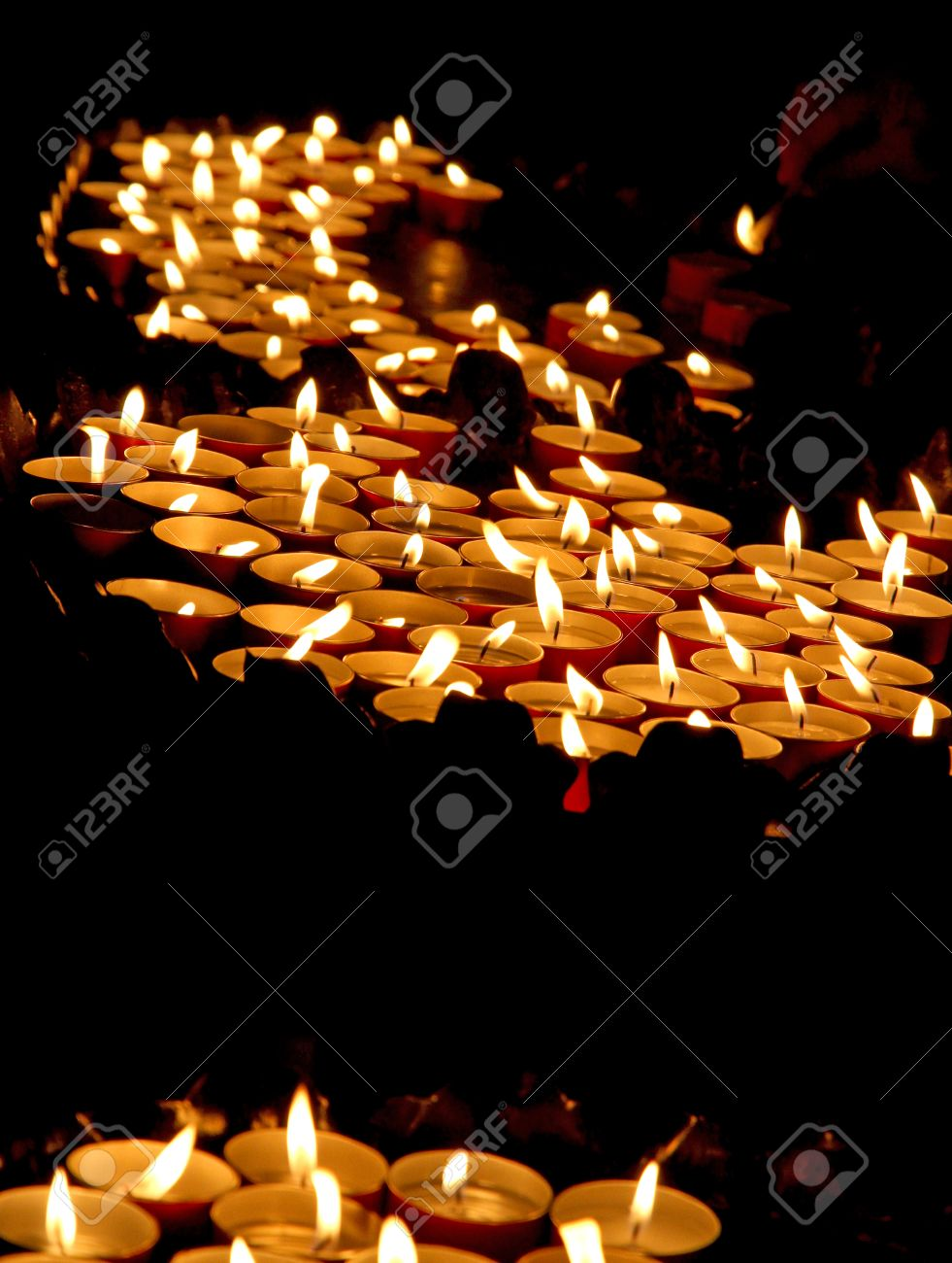 Many Lit Candles In A Church During The Funeral Celebration Stock ...