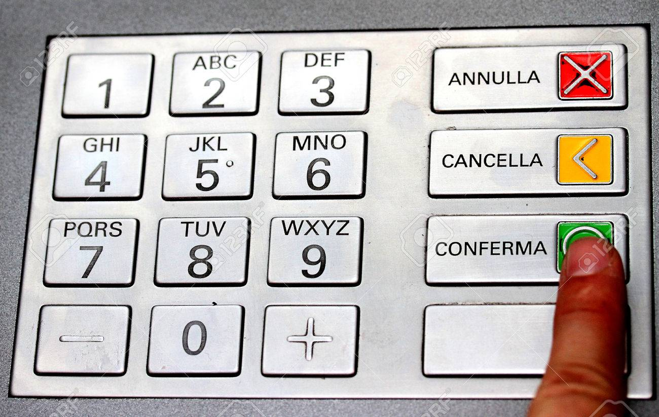 index that confirms the secret code in the keyboard of an ATM