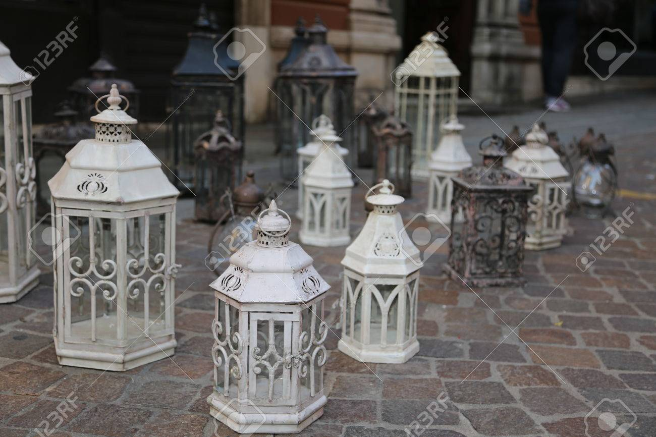 Antique Lanterns And Lights For Sale At Flea Market Stock Photo Picture And Royalty Free Image Image 34469494