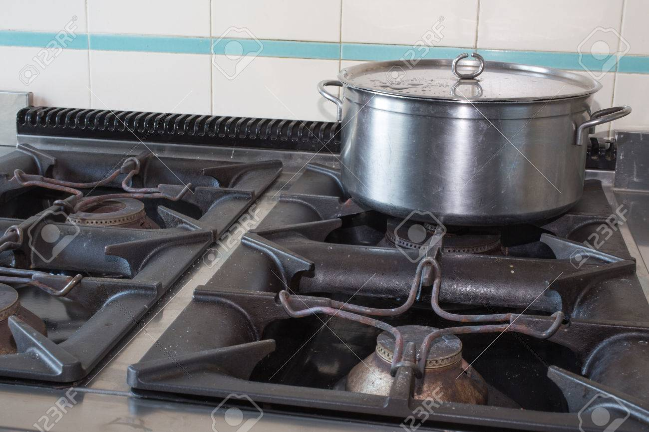 Steel Large Pot Over The Stove Of Industrial Kitchen Stock Photo   35104687