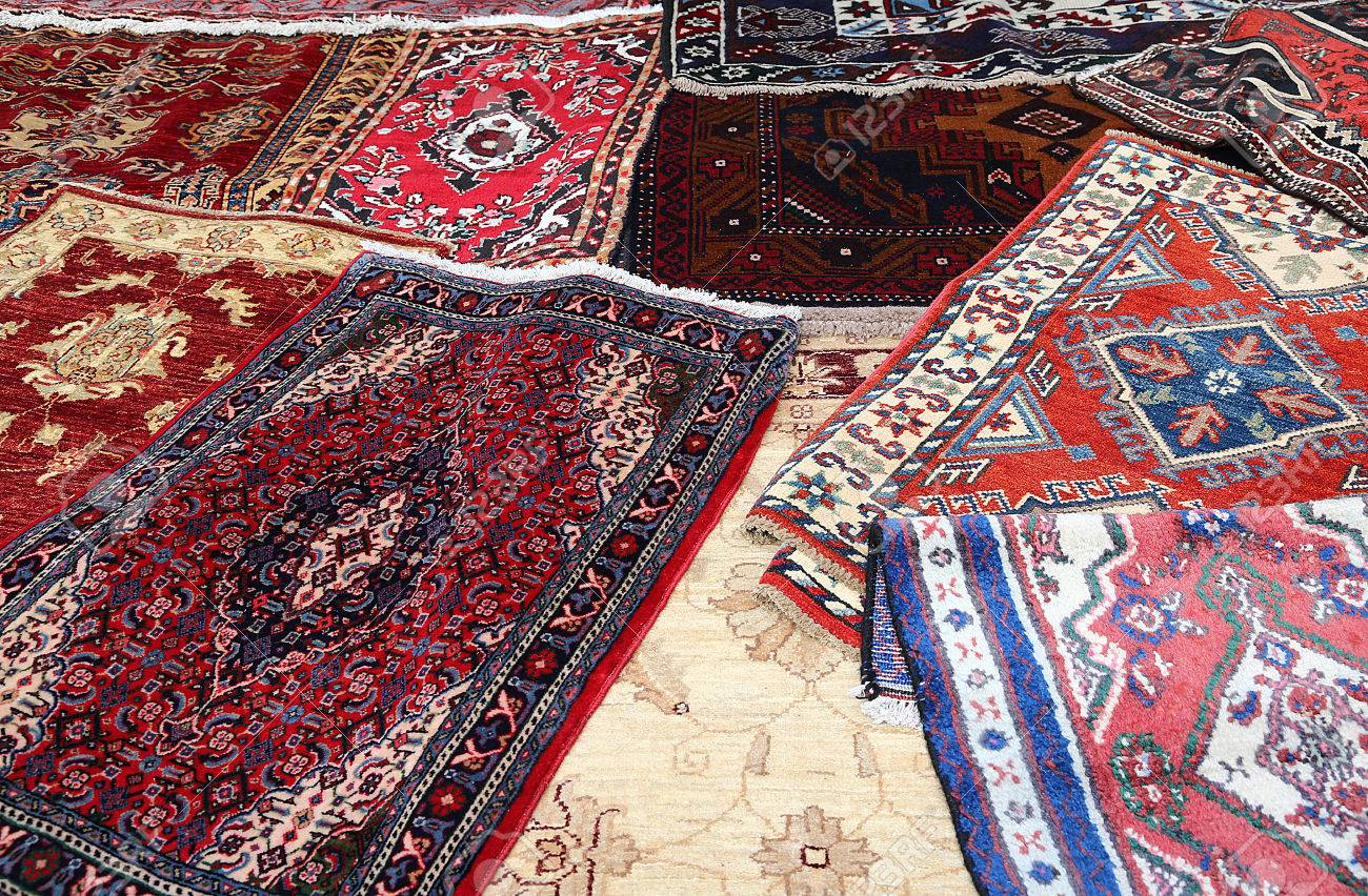 Fine oriental rugs handmade wool for sale in the shop stock photo 35216920