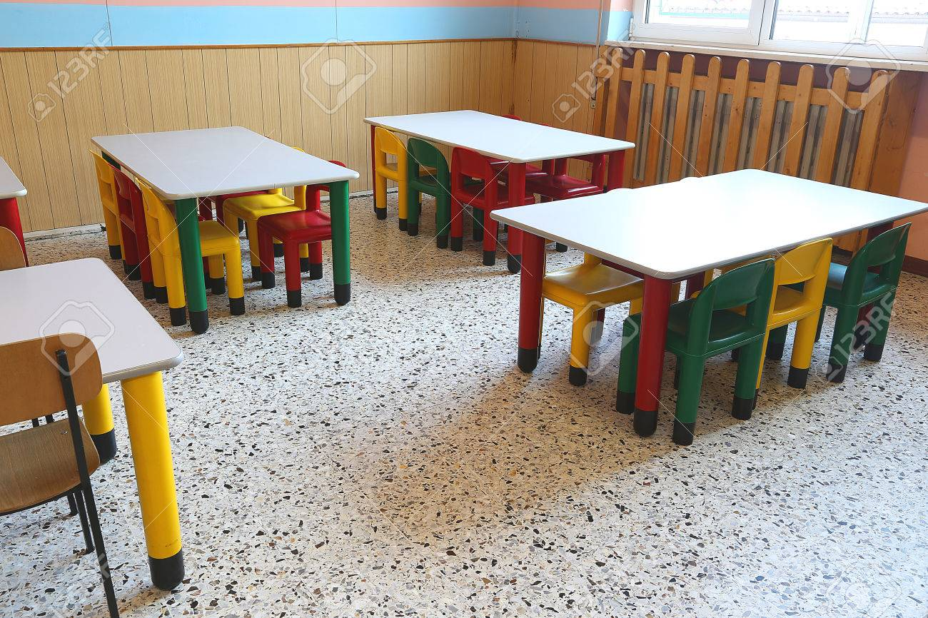 Colored Plastic Chairs And Small Tables School Refectory For