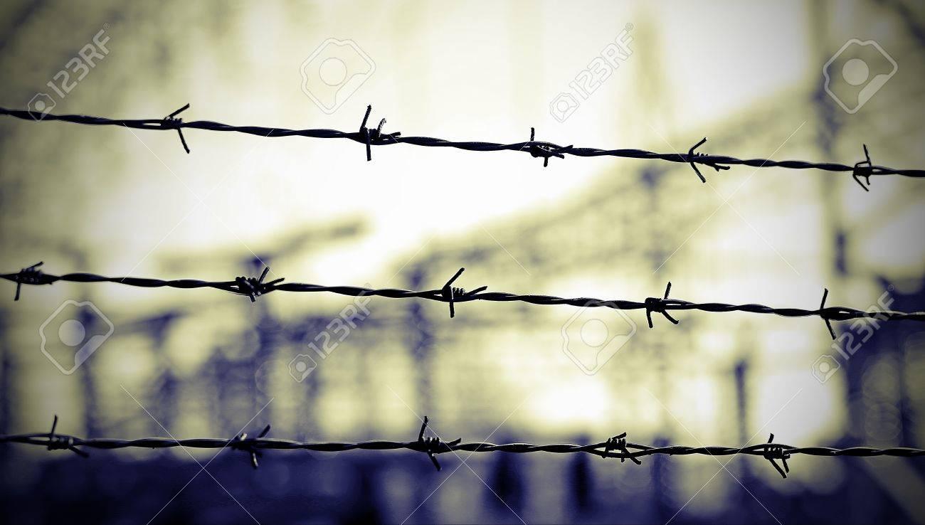 Stacheldraht, Die Grenze Zu Abzugrenzen öffnet Nicht Lizenzfreie ...