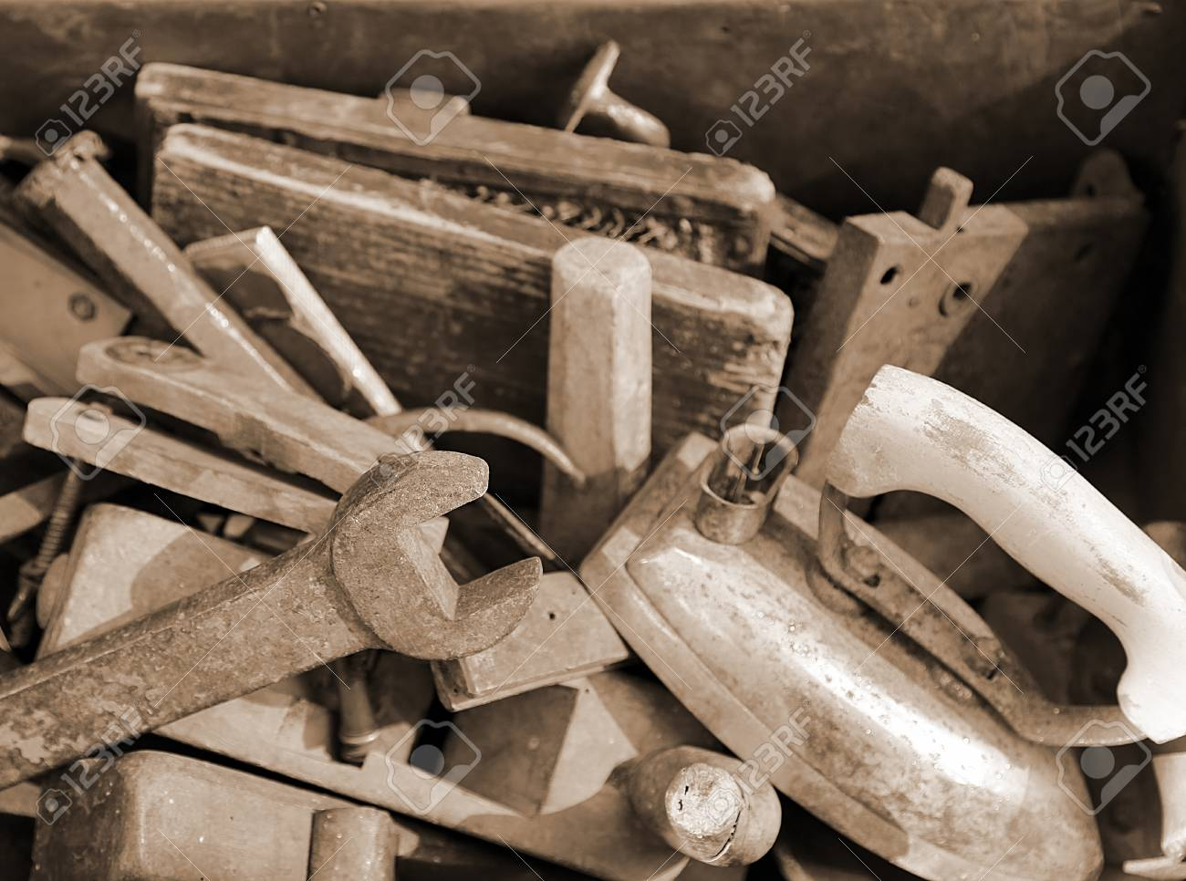 old tools rust for sale by junkman stock photo 39103307