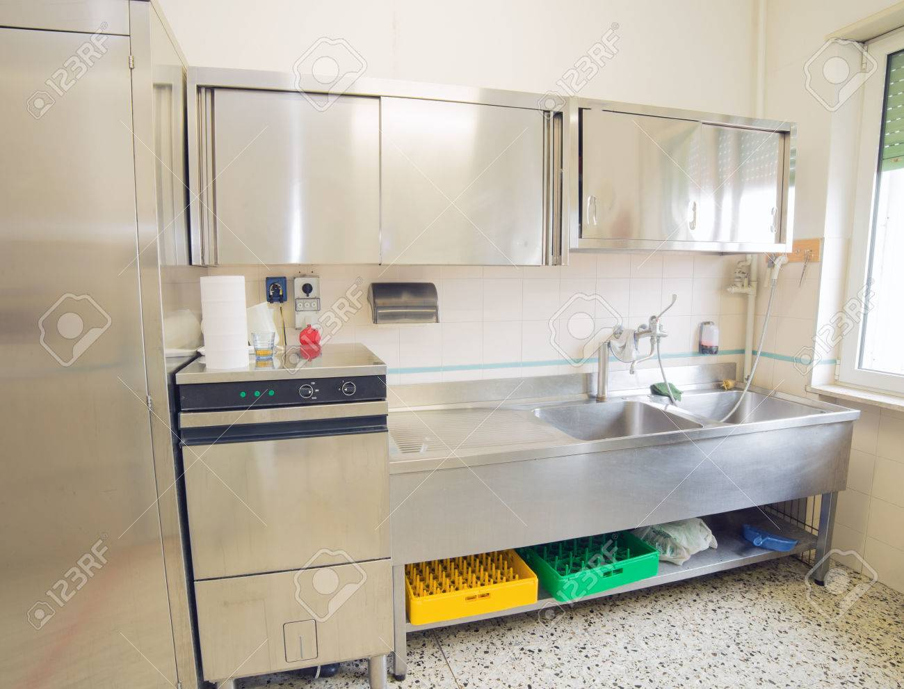Large Industrial Kitchen With Refrigerator Dishwasher And Sink