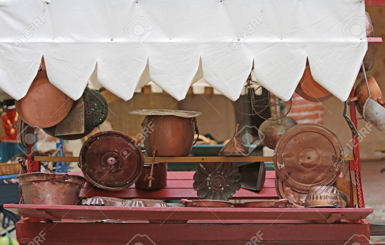 Many Copper Objects For Kitchen And Home For Sale In The Antiques ...