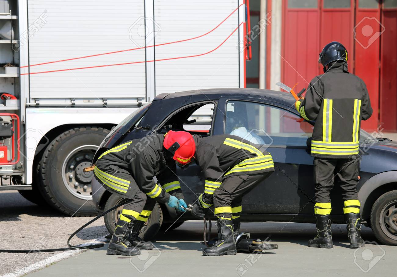 Practice Of Firefighters In The Firehouse And Simulation Of Traffic ...