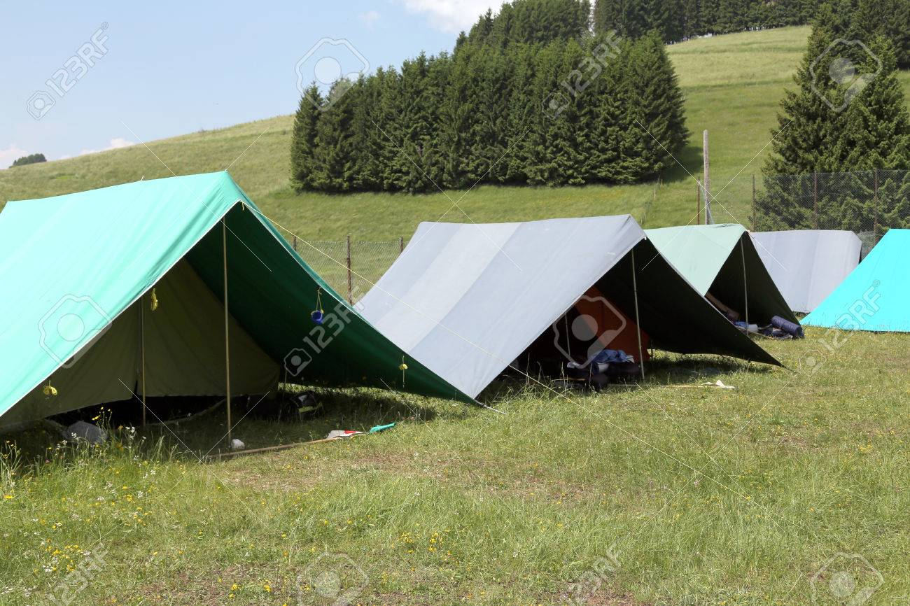 tents of a c&site of the boy scouts in the mountains Stock Photo - 41095166 & Tents Of A Campsite Of The Boy Scouts In The Mountains Stock Photo ...