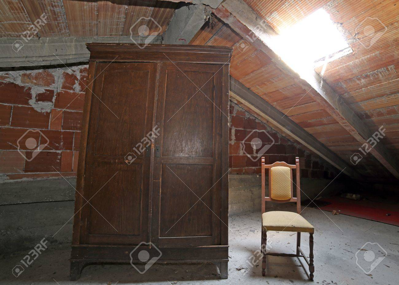 Empty room with chair violin and sheet music on floor photograph - Abandon Chair Old Wooden Wardrobe And An Antique Chair In The Dusty Attic
