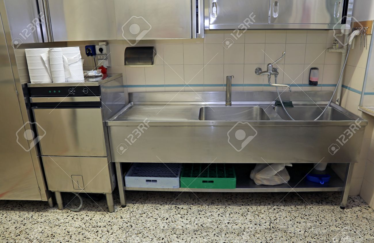Large Stainless Steel Sink Of Industrial Kitchen For Preparing Food Stock  Photo   45109999