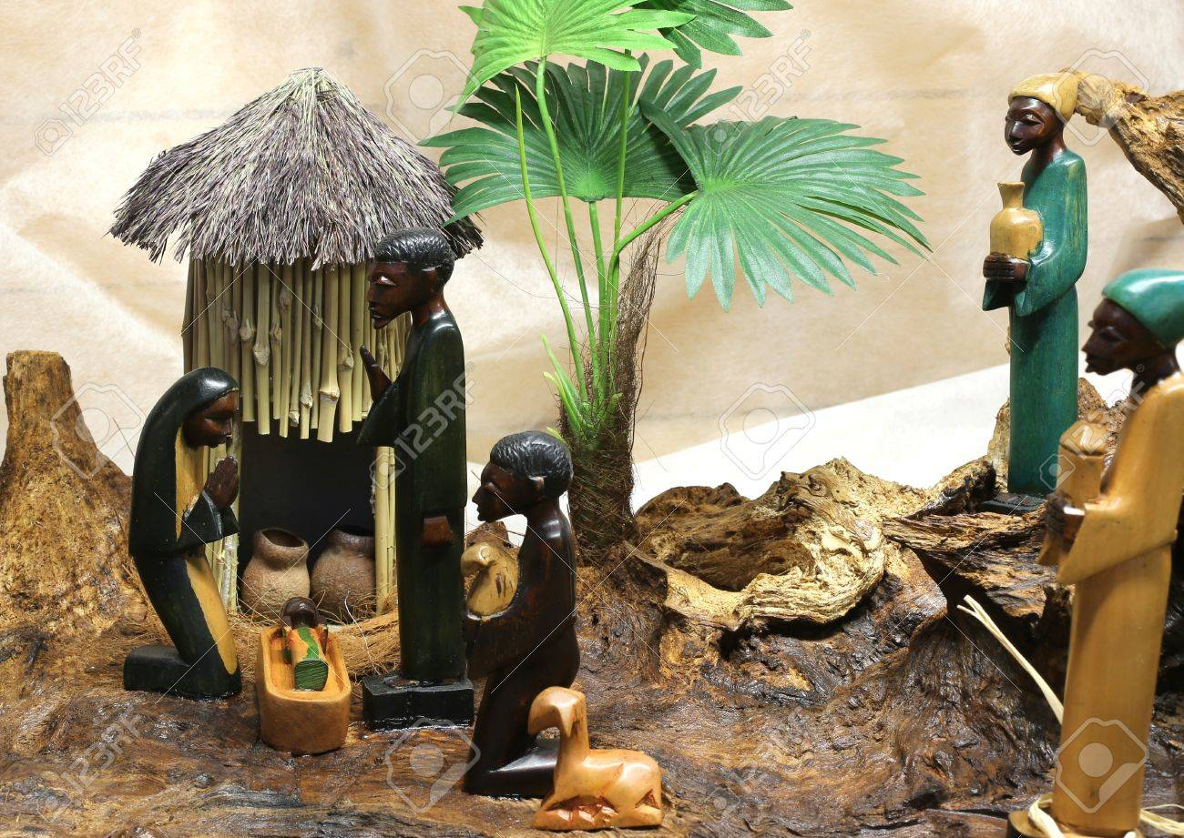 african nativity scene with baby jesus joseph and mary in a hut on Christmas - 49948804