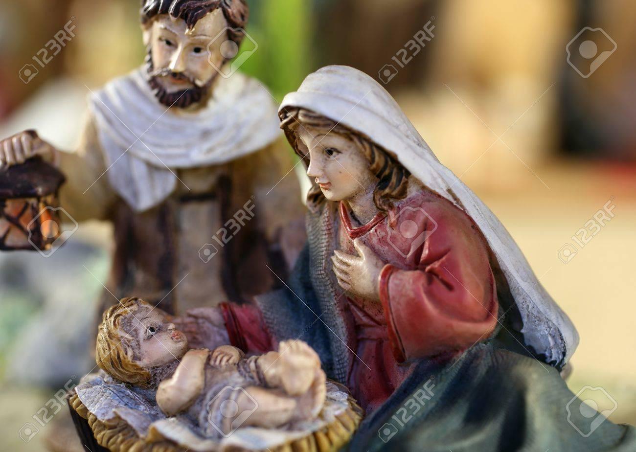 classic Neapolitan nativity scene with baby Jesus Mary and Joseph - 49948803
