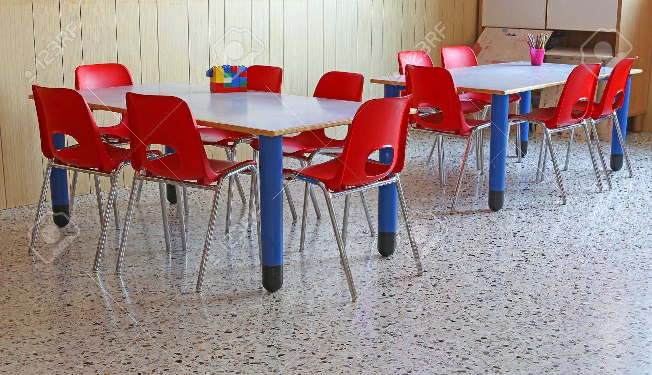 Picture of: Red Chairs And Tables In A Kindergarten Classroom Stock Photo Picture And Royalty Free Image Image 49561192