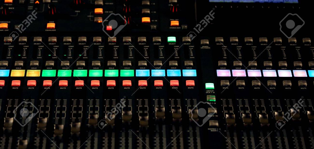 big mixing console with channel to change volume and bass and
