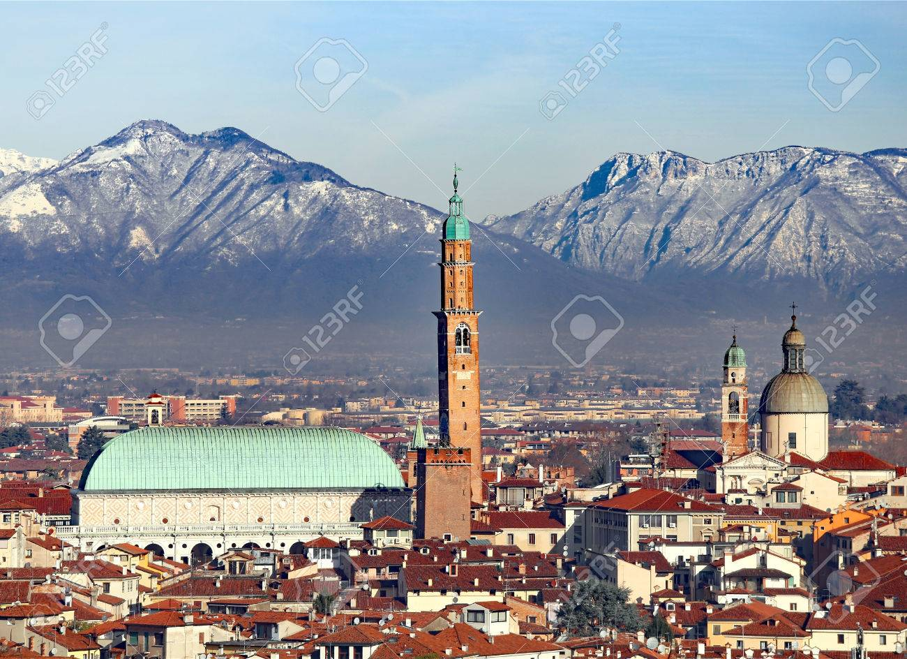 Vicenza, Italy, Skyline Of The City With Basilica Palladiana.. Stock ...