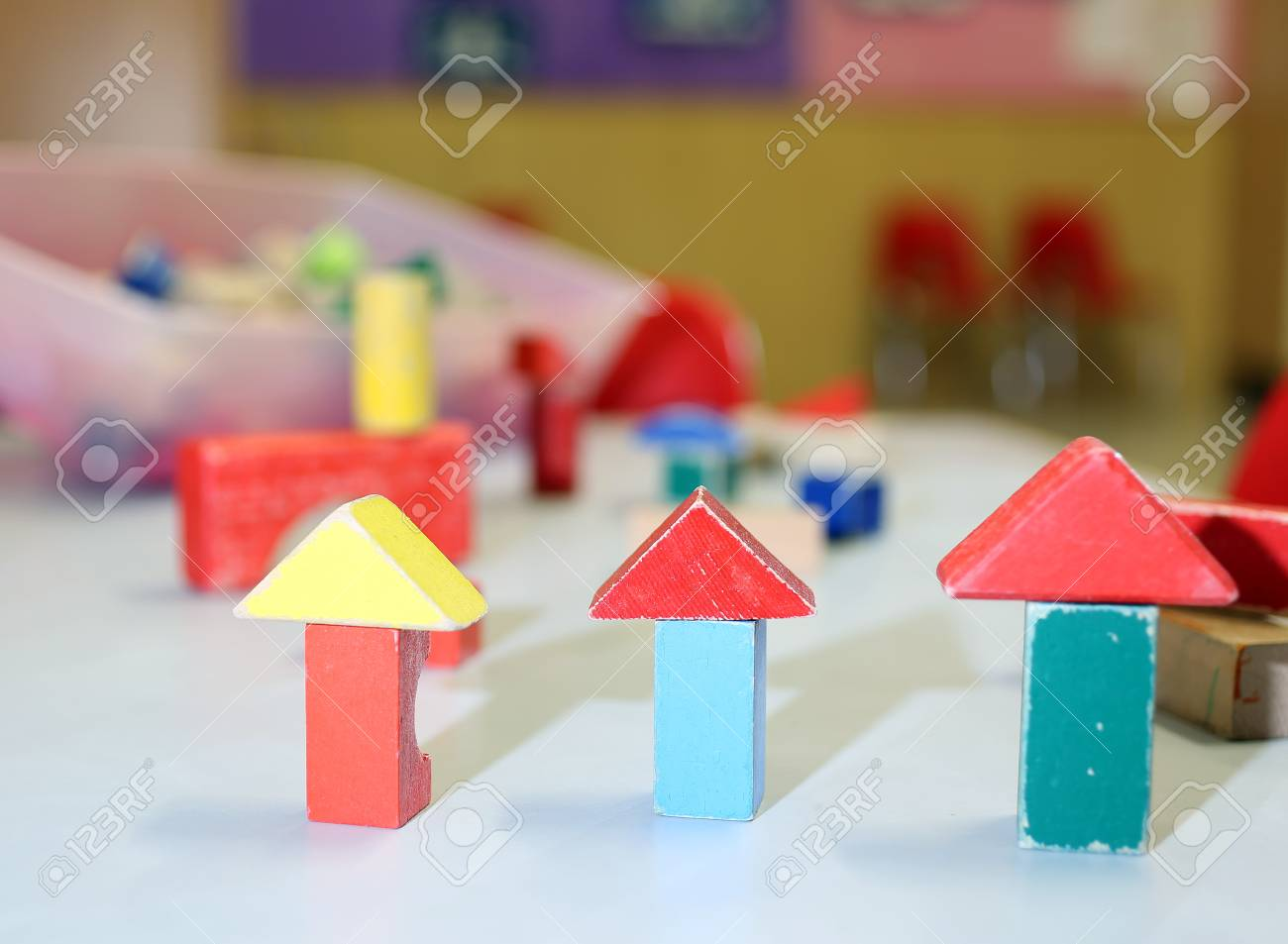 Many Wooden Toys And Pieces Of Buildings In The Nursery Classroom Stock Photo