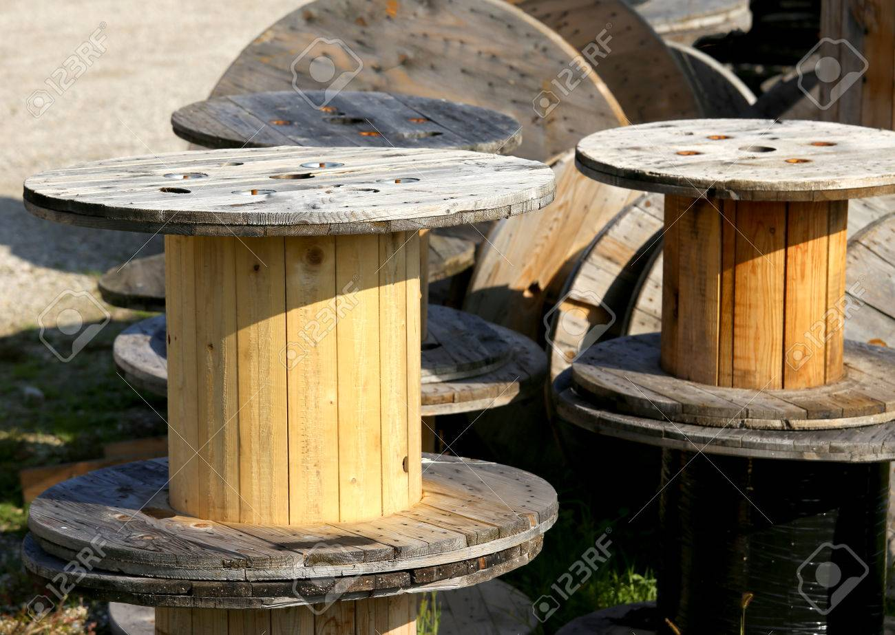 Large Wooden Spools For The Transport Of Electric Cables In A