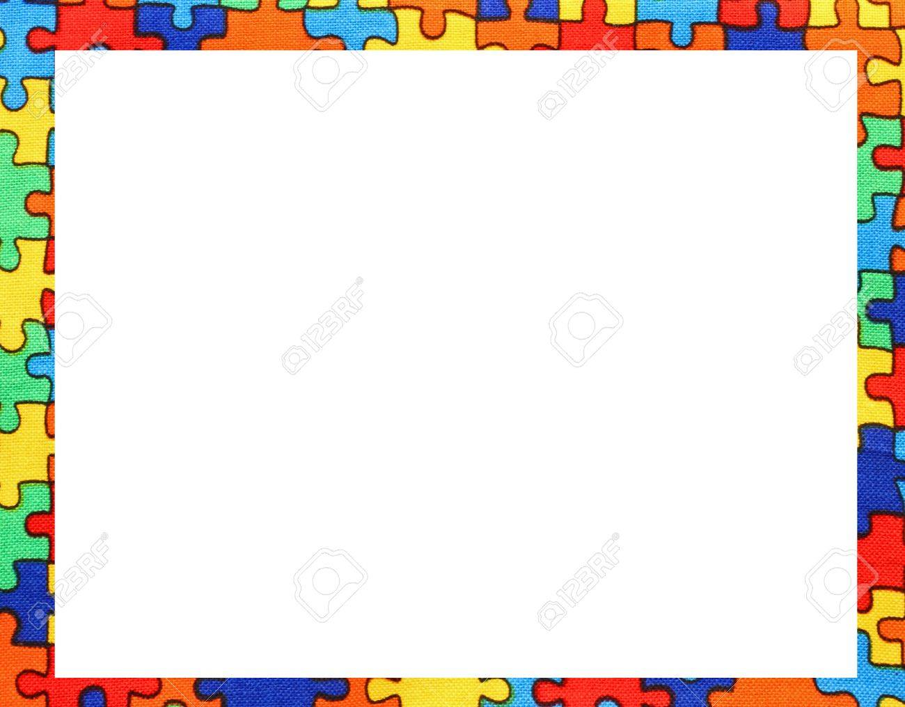 Many Puzzle Pieces Frame With Blanck Space To Write Your Text Stock
