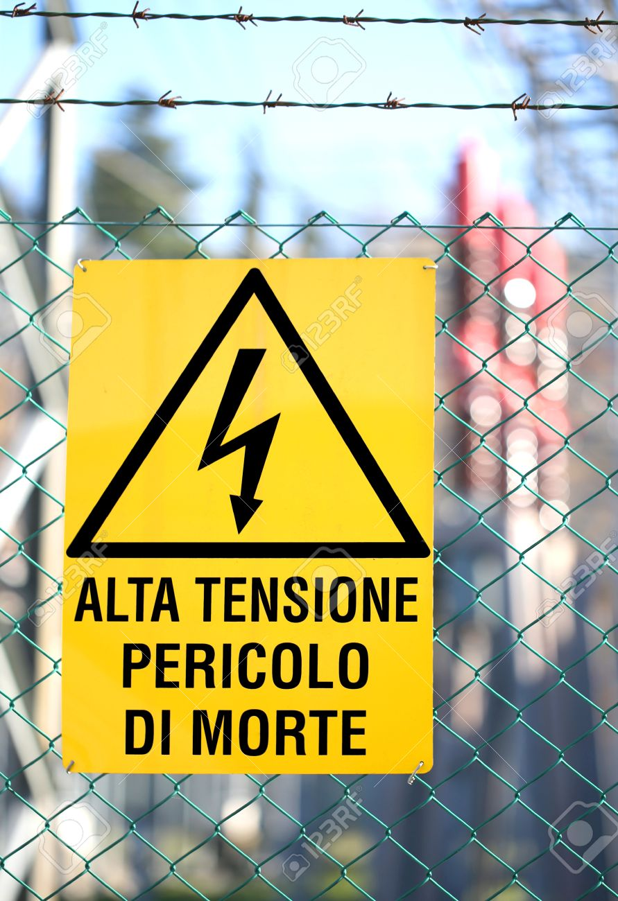Italian sign in the powerplant that means high voltage danger italian sign in the powerplant that means high voltage danger of death stock photo 68518969 buycottarizona Images
