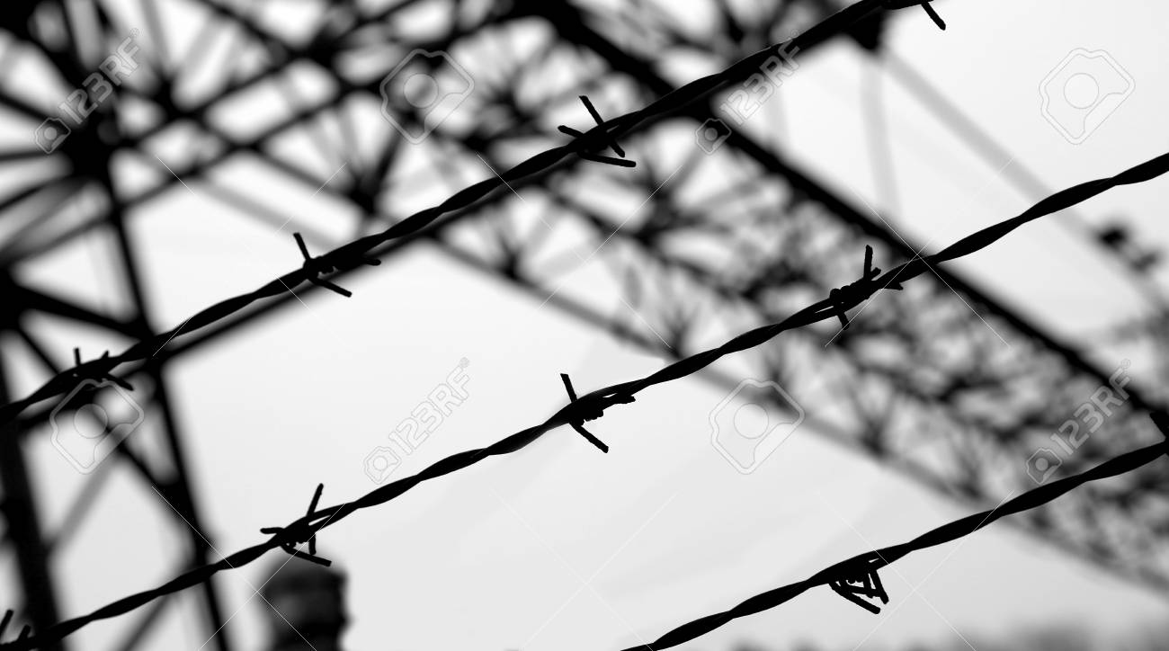 Dramatic Barbed Wire Fence With Black And White Effect Stock Photo ...