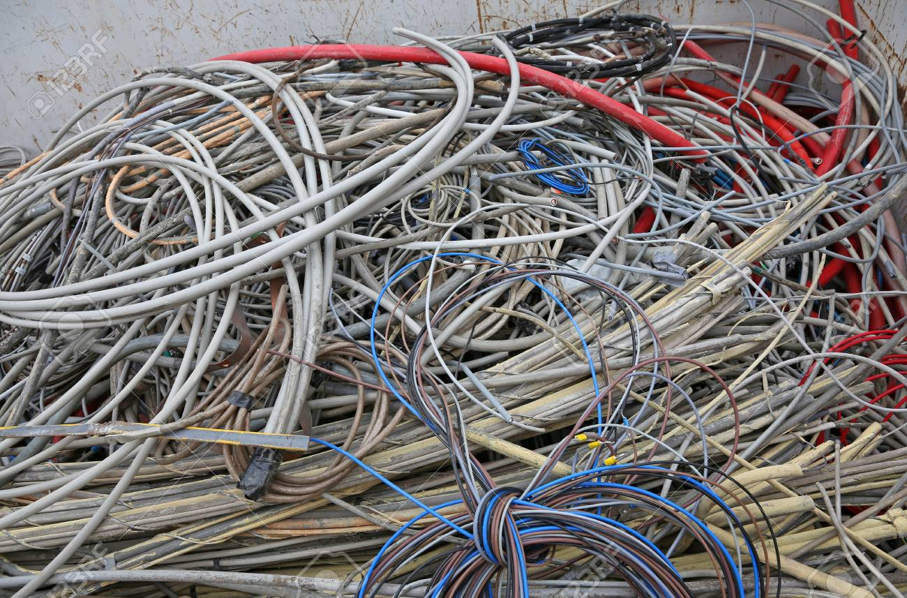 Many Copper Electrical Cables In A Deposit Of Waste Collection ...