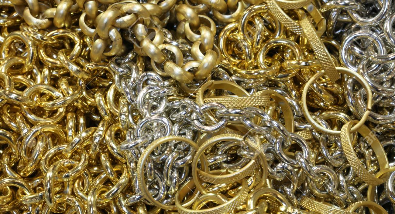 Gold Chains For Sale >> Background With Fake Gold Chains And Necklaces And Fake Jewelery