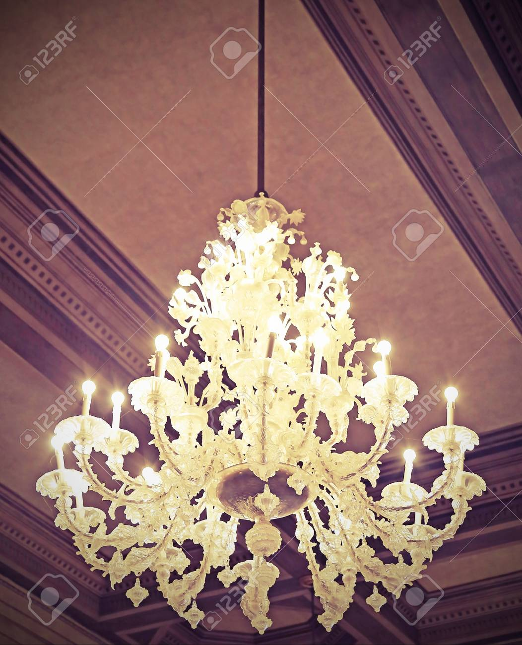 Big chandelier in glass in murano style in the ancient palace big chandelier in glass in murano style in the ancient palace in italy with vintage effect aloadofball Choice Image