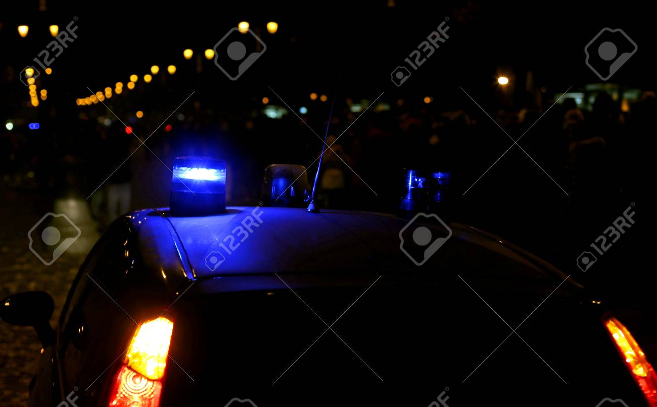 Blue Lights Sirens Of A Police Car In The City Stock Photo   87553185