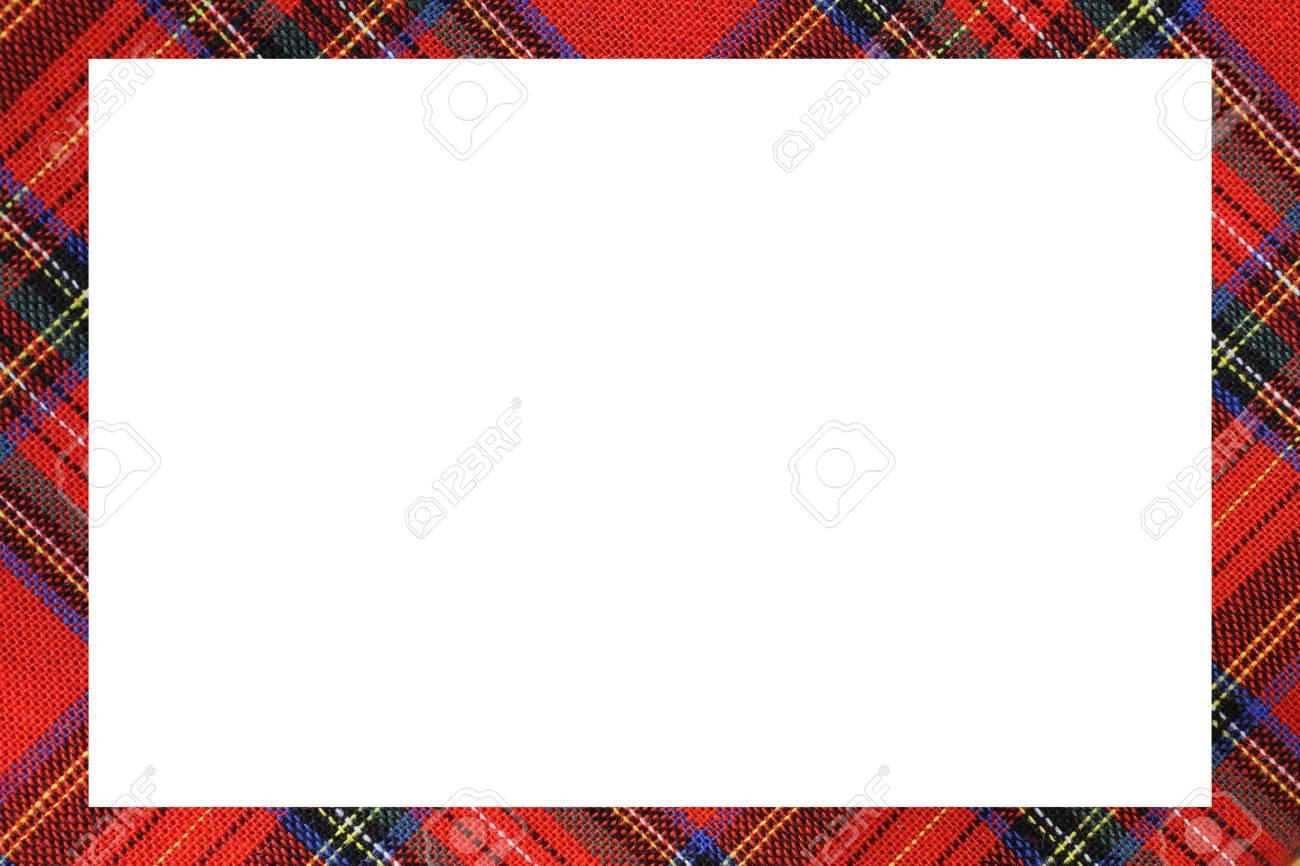 Tartan Type Scottish Frame With A White Space To Write A Custom