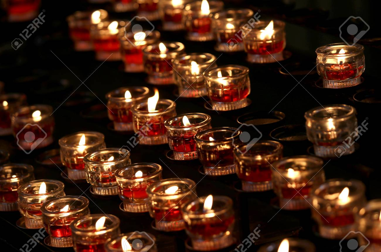 group of many candles in the catholic church during religious rite Stock Photo - 93305065 & Group Of Many Candles In The Catholic Church During Religious ...