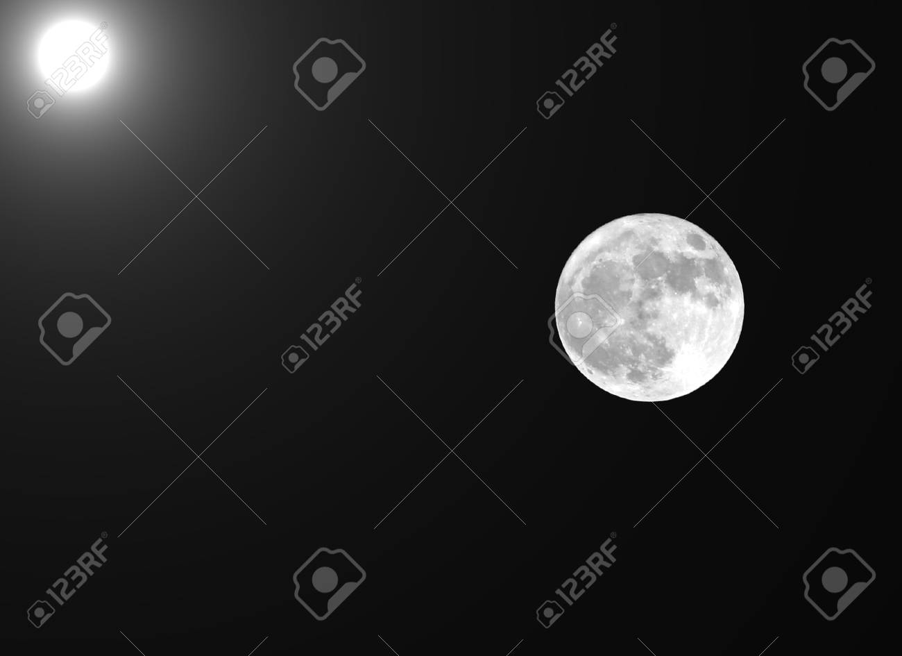 full moon and the sun in the same photographic frame stock photo