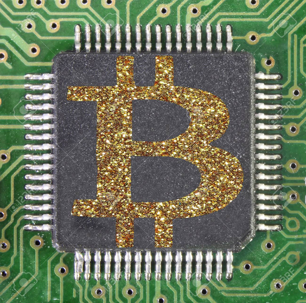 Big B Of Bitcoin Cryptocurrency Symbol On A Electronic Circuit Symbols Stock Photo 94250454