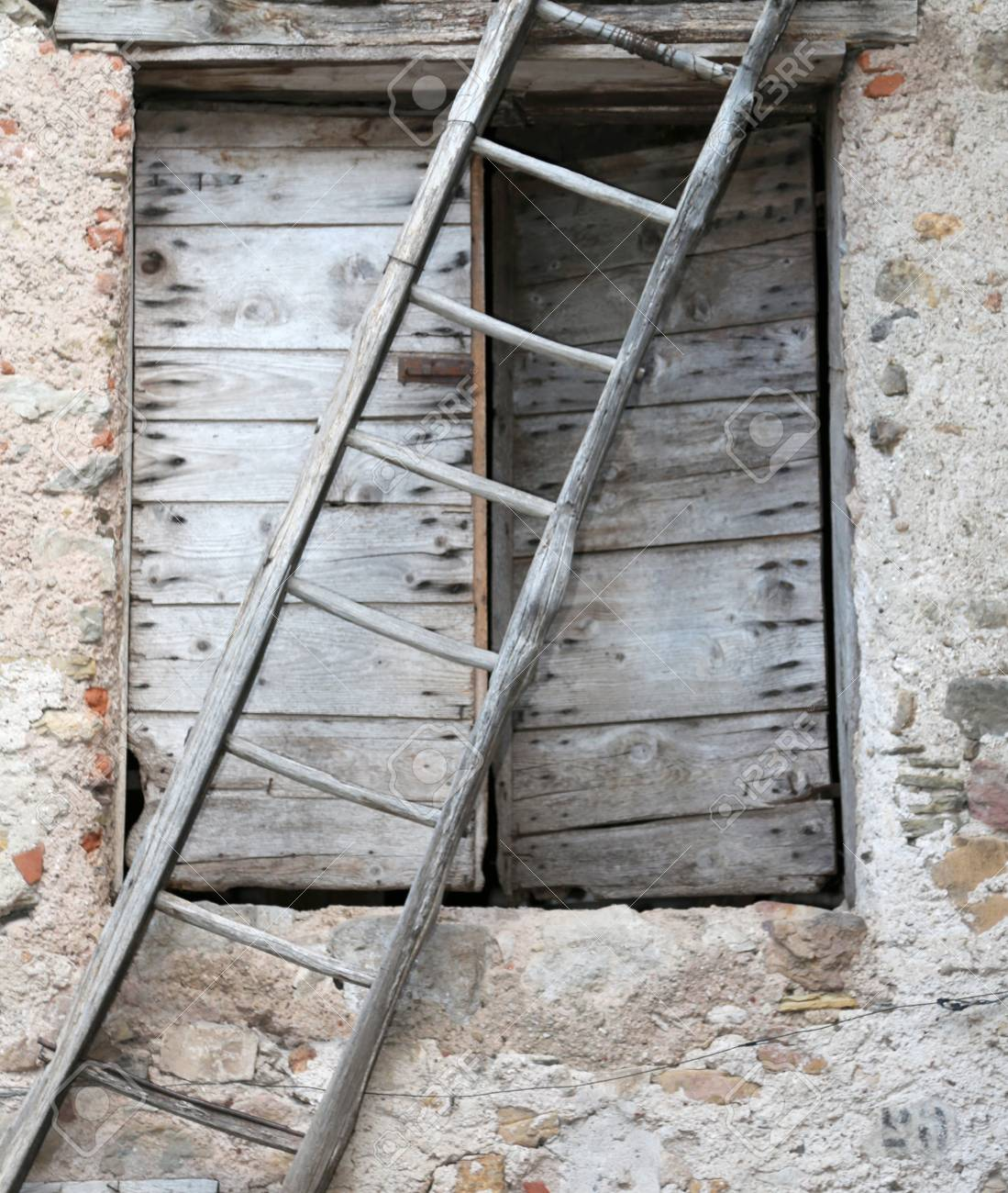 Very Old Wooden Ladder And A Door In The Farm