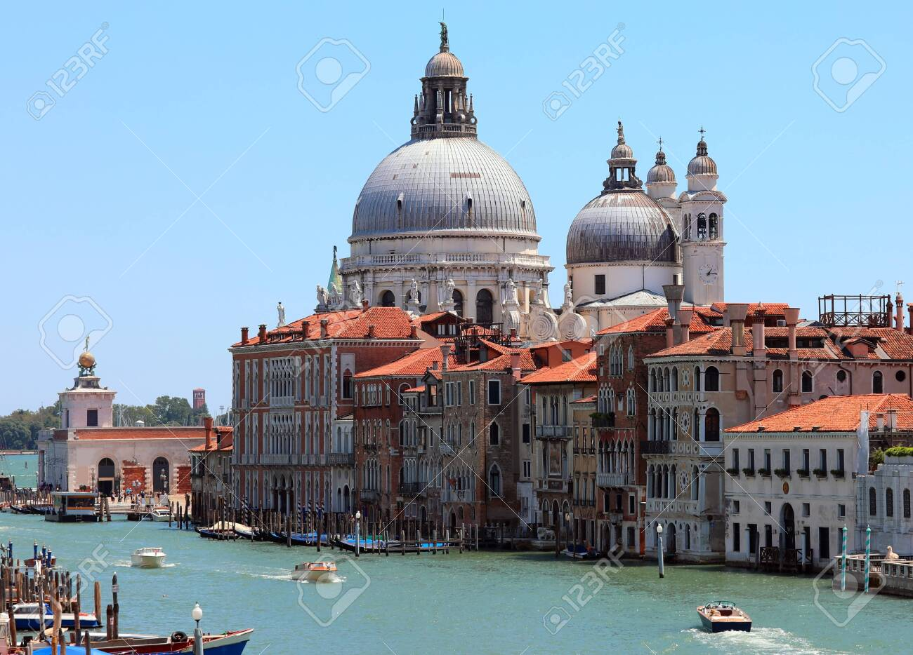 Big Dome Of The Church Of Madonna Della Salute And Many Boats.. Stock  Photo, Picture And Royalty Free Image. Image 130123384.