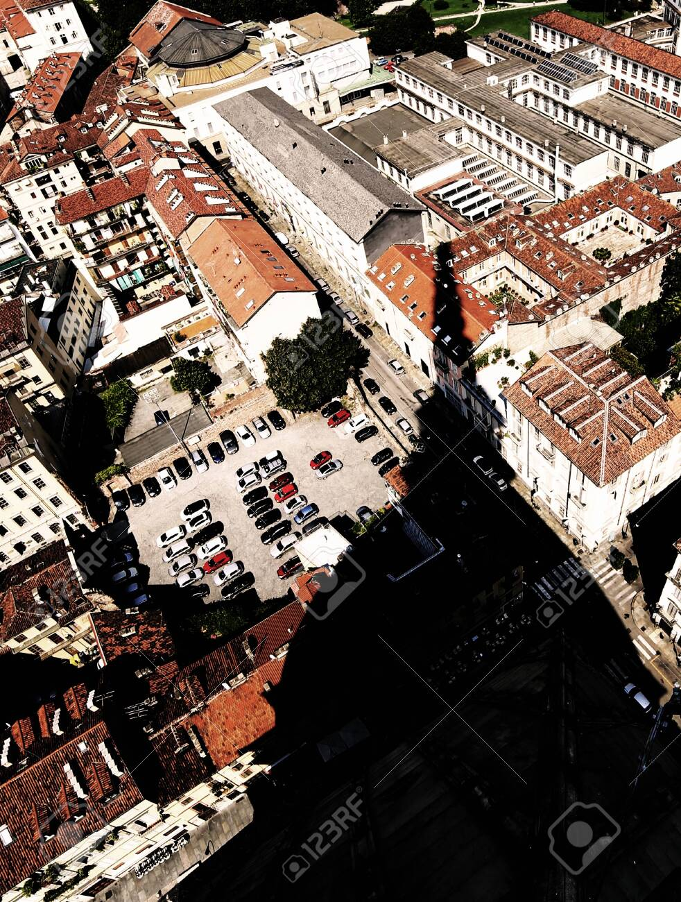 Aerial view from the famous monument called Mole Antonelliana and the huge shadow of the dome - 131804294