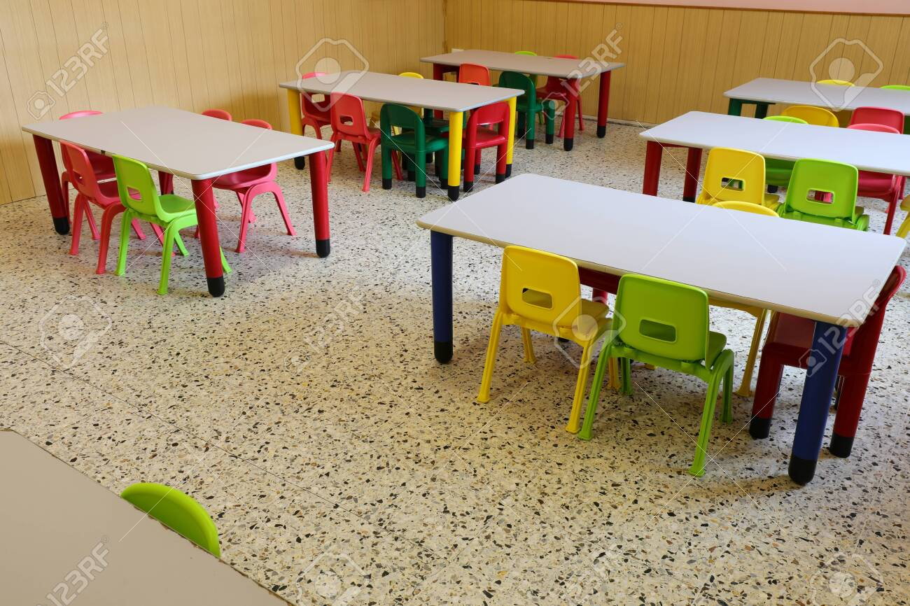 Picture of: Small Chairs And Tables Of A Classroom Without Children Who Have Stock Photo Picture And Royalty Free Image Image 145132593