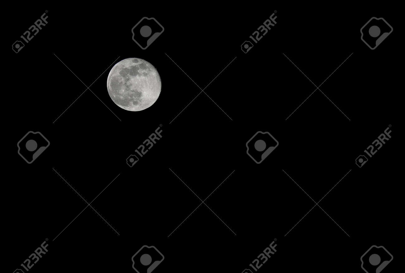 large and bright Moon in the black background is a whole part that can be customized with text or by inserting other images - 171146181