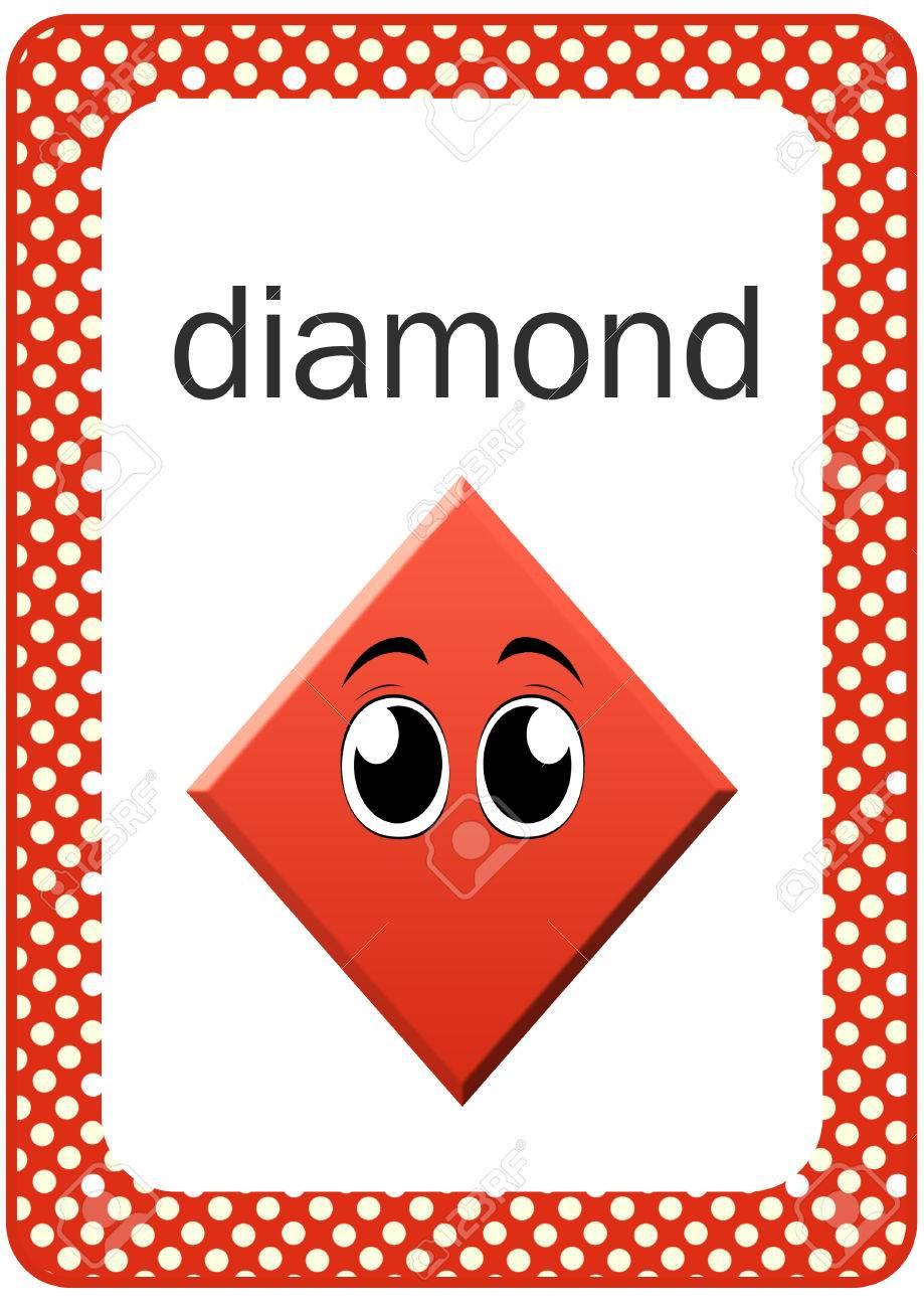 photo relating to Printable Shape Flash Cards named Printable Boy or girl Condition Flash card - Diamond