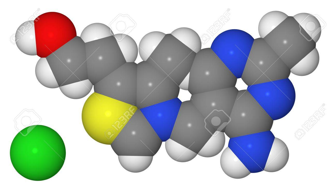 Space-filling model of thiamine molecule isolated on white background Stock Photo - 8329765