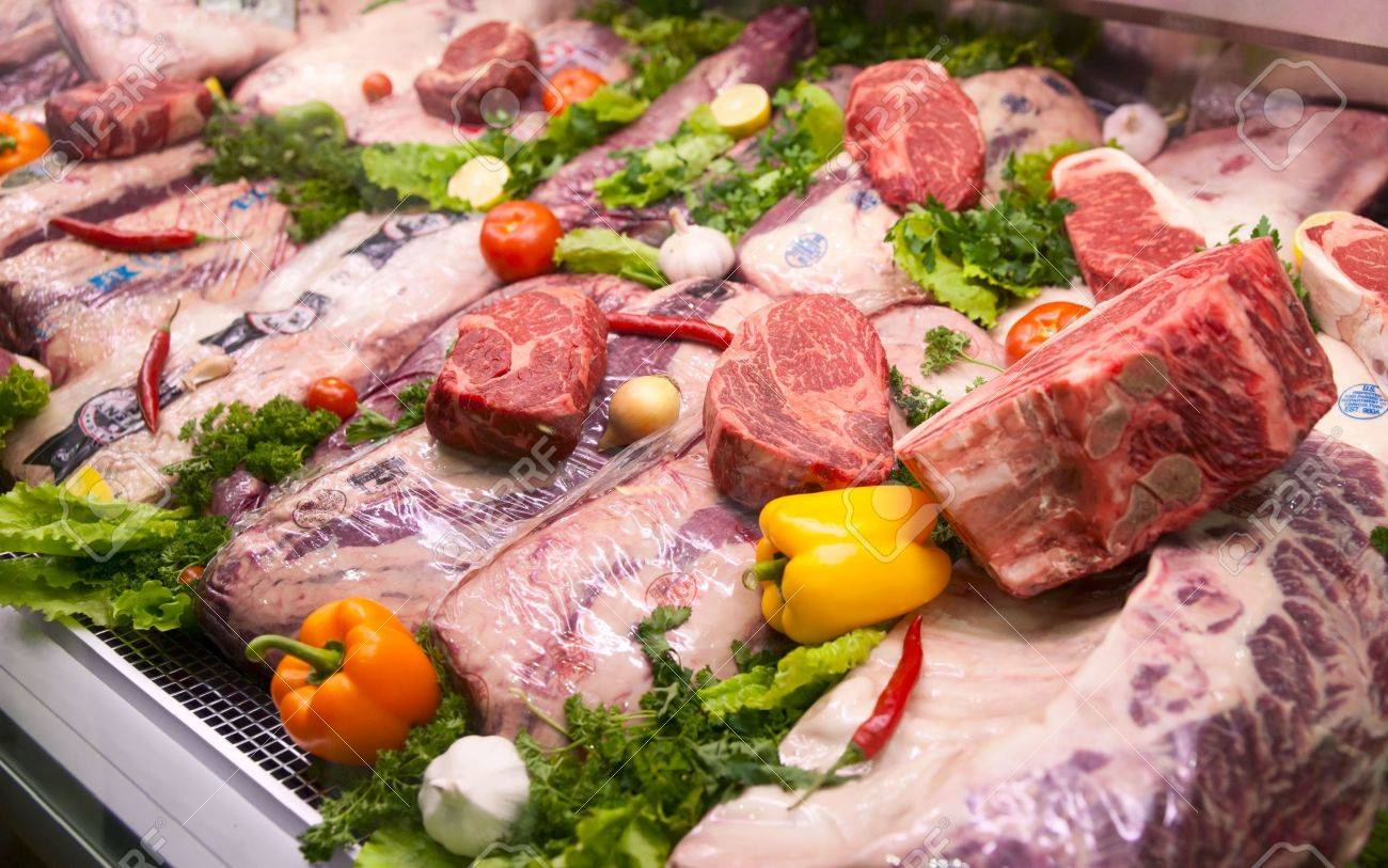Assortment of U.S. export meat. Some veterinary service  stamps are visible, trademarks blurred Stock Photo - 5774169
