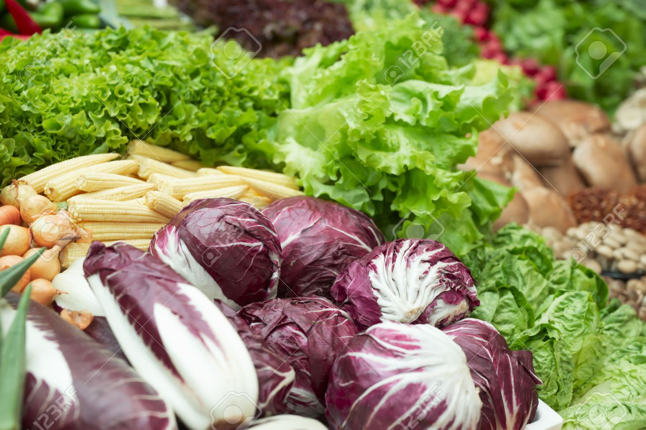 Vegetables and groceries in supermarket, focus is on cabbages Stock Photo - 6910460