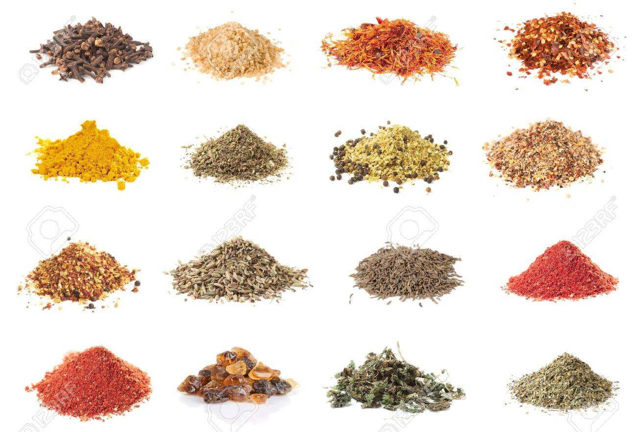 Set of spices heaps isolated on white background Stock Photo - 8972759