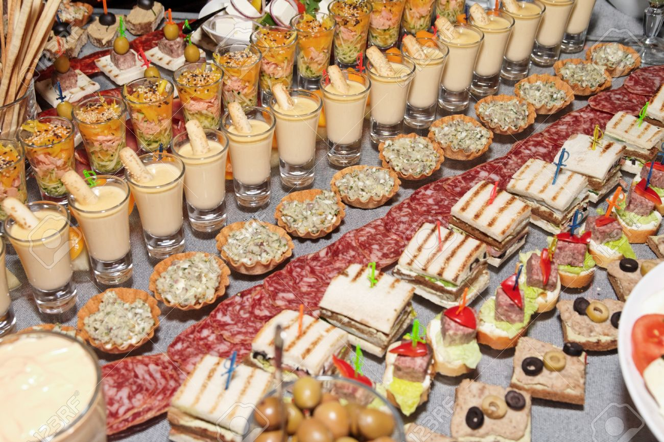 Snacks And Sweets On The Banquet Table Stock Photo, Picture And ...