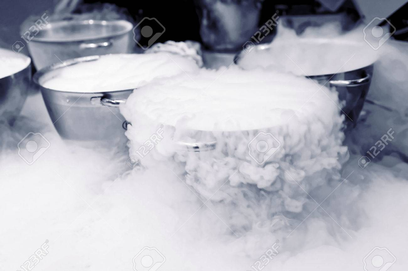 buy online 52ffd d8e6b Making ice cream with liquid nitrogen, professional cooking Stock Photo -  48473406