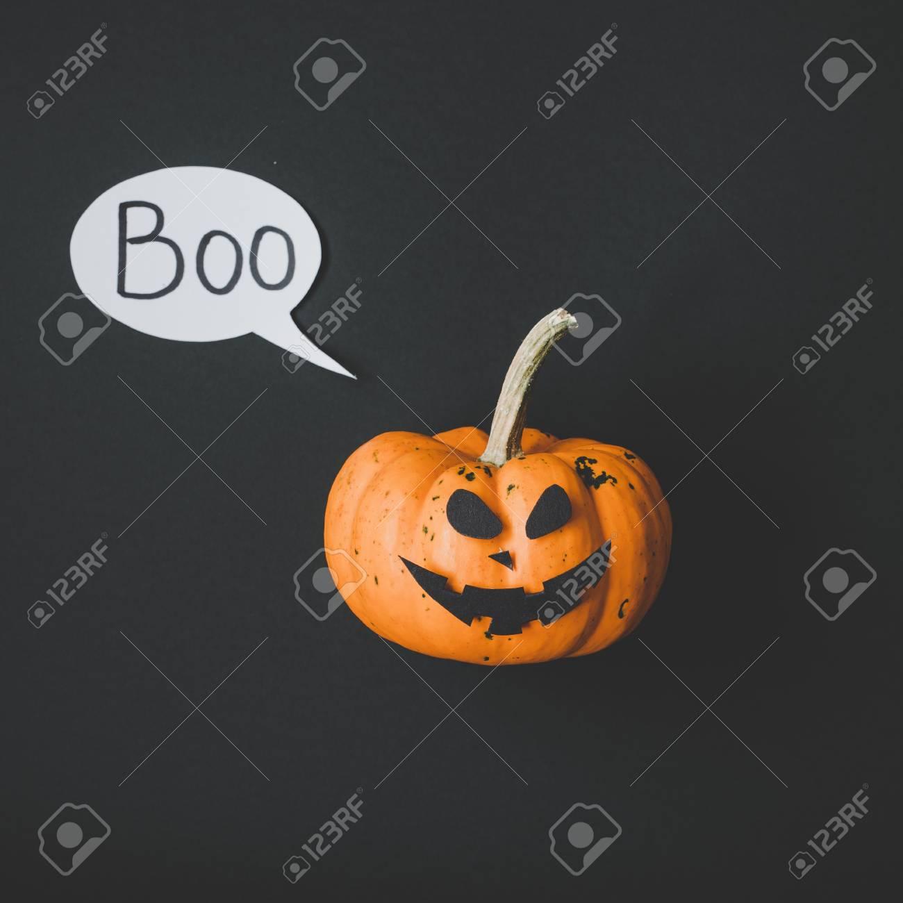 happy halloween. funny halloween pumpkin jack o lantern on black