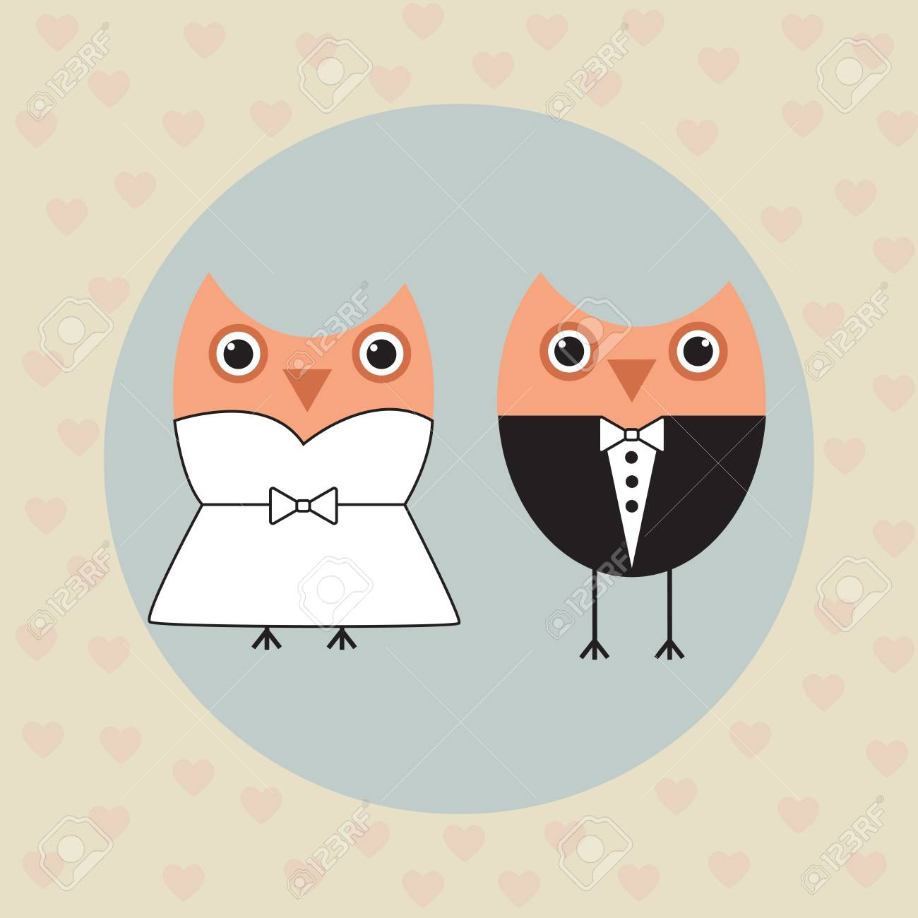 Vector illustration on a wedding theme owls in their wedding vector vector illustration on a wedding theme owls in their wedding clothes on a gentle background among hearts junglespirit Gallery